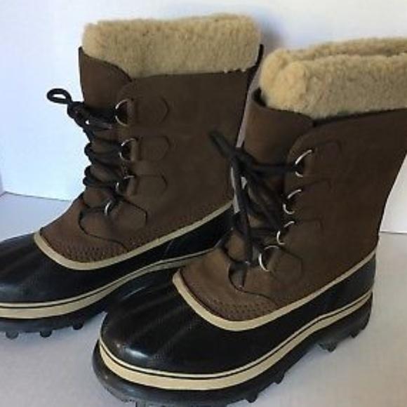 5458e88fea8 Sorel Caribou Mens Winter Boots Brown Suede